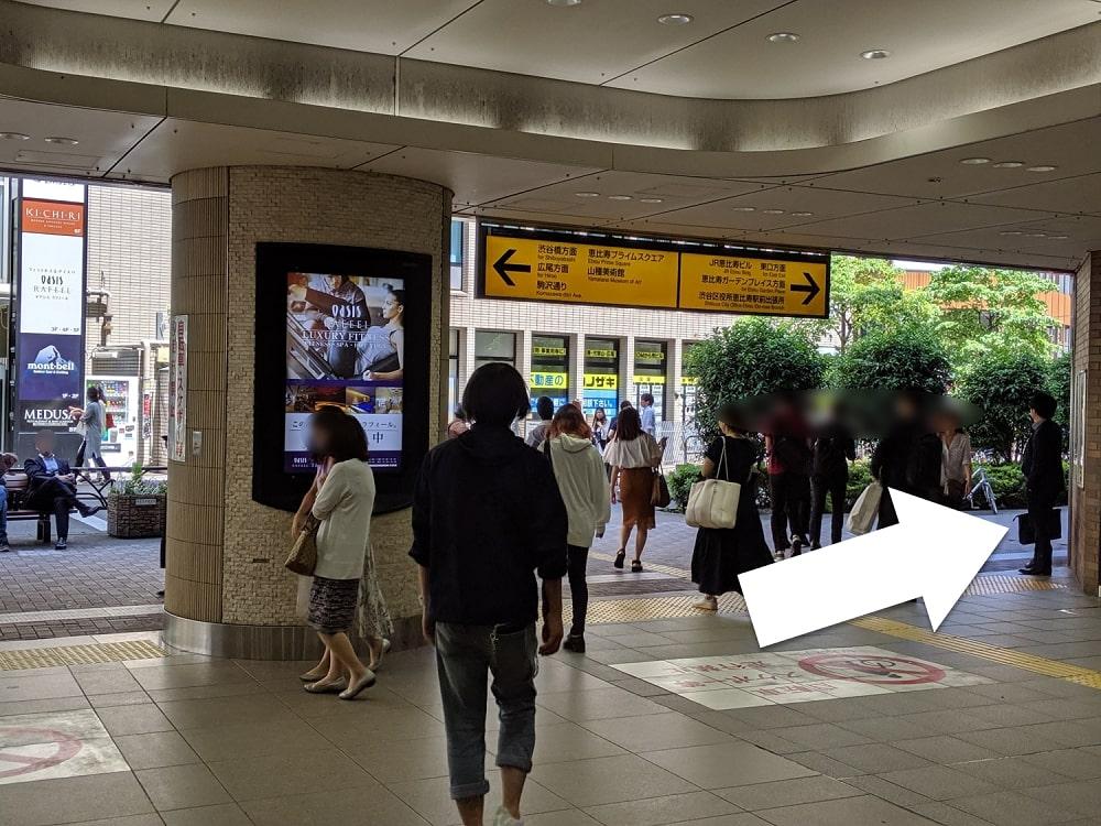 恵比寿駅西口からのルート