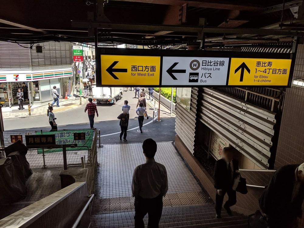 恵比寿駅東口の階段